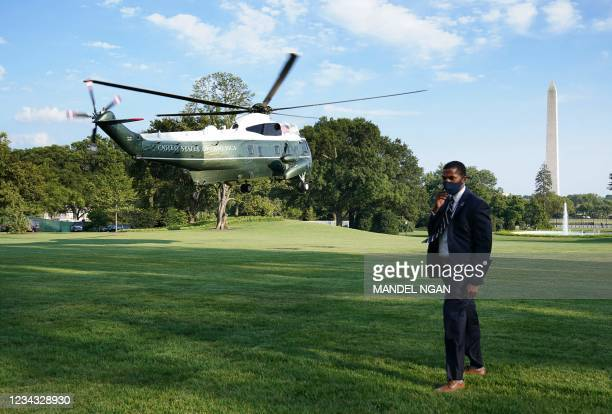 Marine One, carrying US President Joe Biden, takes off from the South Lawn of the White House in Washington DC on July 30, 2021. - Biden is scheduled...