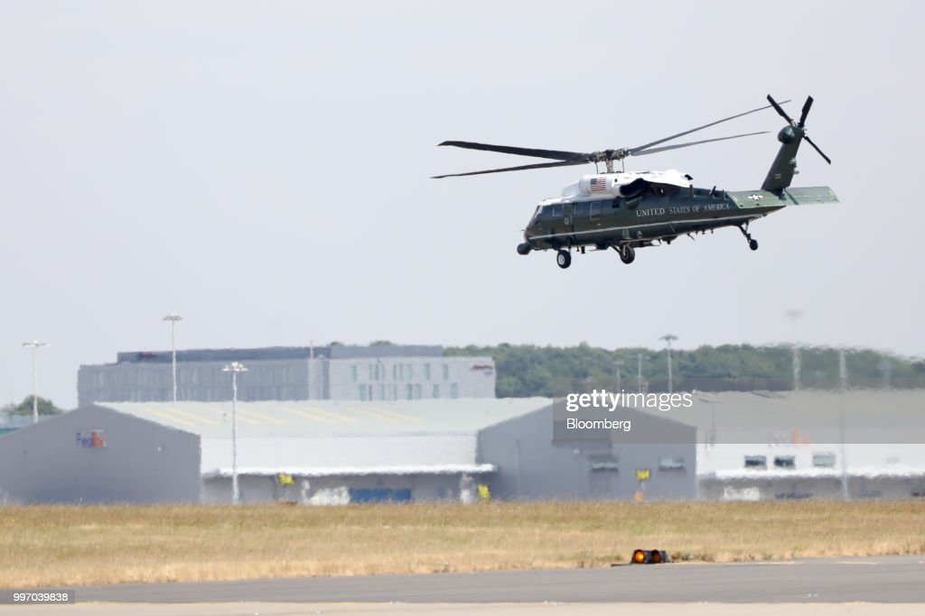 Marine One departs from London Stansted Airport in Stansted, U.K., on Thursday, July 12, 2018. U.S. President Donald Trump will avoid London as much as possible as he's whisked off on a tour of prime British real estate to keep him away from protesters during his U.K. visit. Photographer: Chris Ratcliffe/Bloomberg via Getty Images