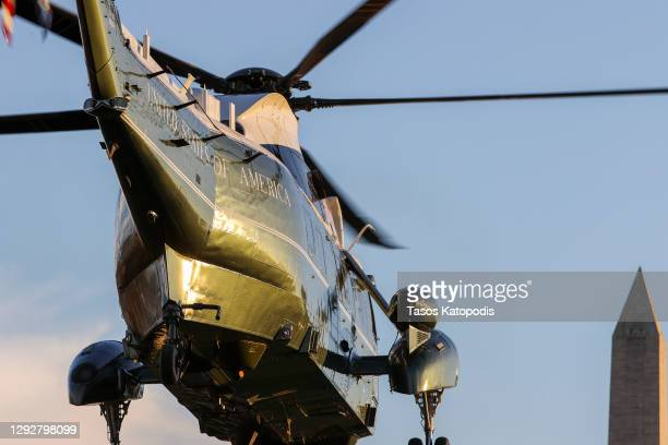 Marine One departs from the south lawn of the White House on December 23, 2020 in Washington, DC. President Trump and first lady Melania Trump are...