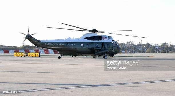 Marine One departs LAX Airport with US President Donald Trump aboard at LAX Airport on February 18 2020 in Los Angeles California