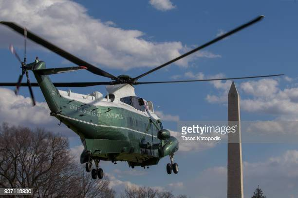 Marine One helicopter departs from the South Lawn of the White House on March 23 2018 in Washington DC
