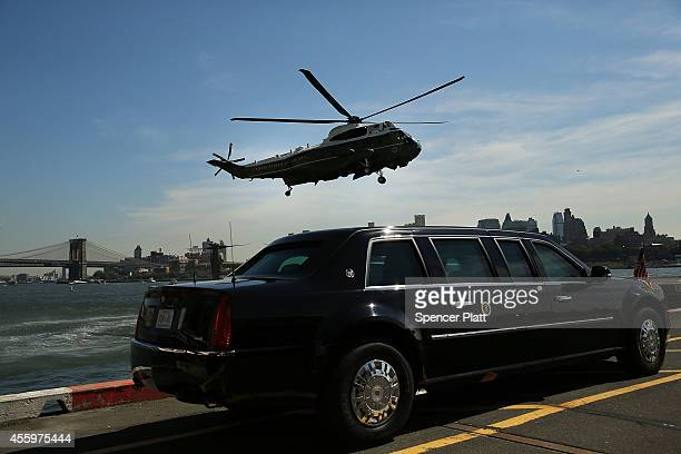 Marine One lands in New York City with US President Barack Obama who is in New York for the 69th Session of the United Nations General Assembly to...