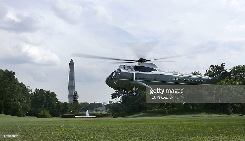 Marine One lands on the South Lawn of the White House as U.S. President Barack Obama returns after speaking at the Amazon Fulfilment Center in Tennessee, on July 30, 2013 in Washington, DC. In his speech the president attacked republican efforts at job creation, including the Keystone XL pipeline, shrinking the Environmental Protection Agency, and repeated attempts in Congress to repeal the Affordable Care Act.