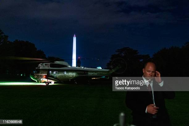Marine One lands on the south lawn on July 17 2019 in Washington DC Trump traveled to campaign rally in North Carolina after the House of...