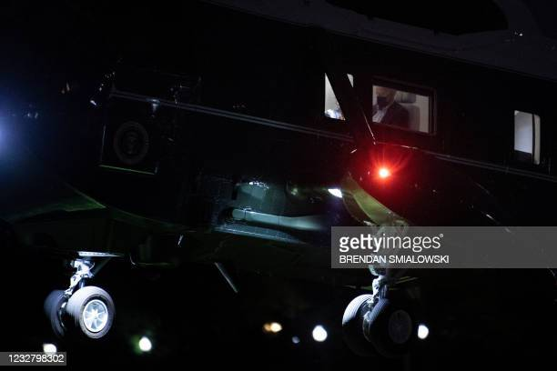 Marine One lands with US President Joe Biden on the Ellipse outside the White House parameter, during South Lawn construction, May 9 in Washington,...