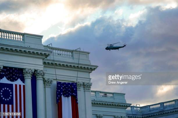 Marine One lifts off carrying President Donald Trump and first lady Melania Trump as they depart from the White House ahead of the inauguration of...