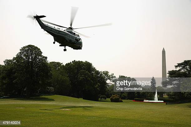 Marine One lifts off from the South Lawn with US President Barack Obama on board for a day trip to Tennessee July 1 2015 in Washington DC Obama...
