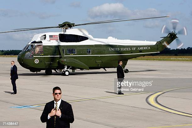 Marine One the helicopter of US President George W Bush lands to shuttle him to his plane Air Force One on July 14 2006 in Rostock Germany Bush...