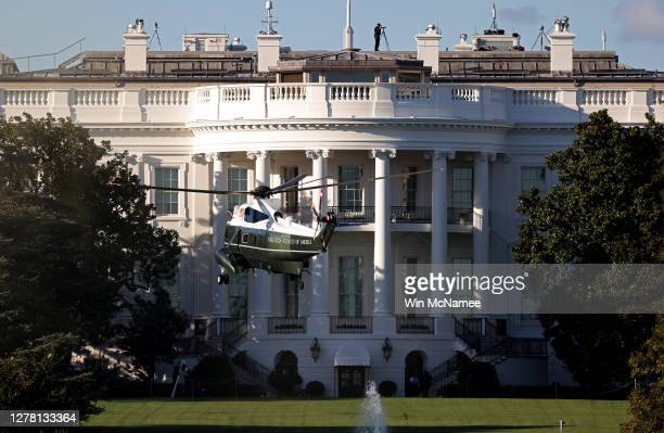Marine One, the presidential helicopter, arrives at the White House to carry U.S. President Donald Trump to Walter Reed National Military Medical...