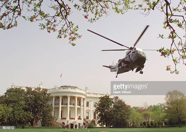 Marine One the Presidential Helicopter carrying President George W Bush takes off from the South Lawn of the White House April 20 2001 In Washington...
