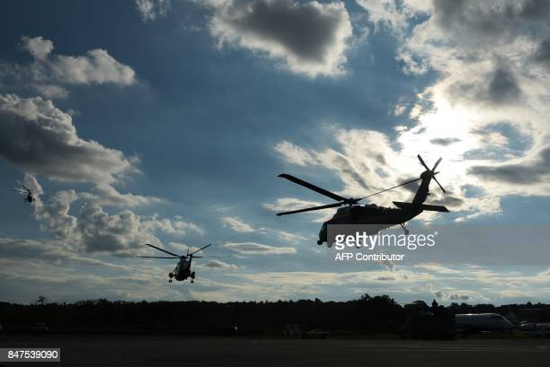 Marine One US President Donald Trump and its ecorts take off from Morristown Municipal Airport in Morristown New Jersey on September 15 2017 Trump is...