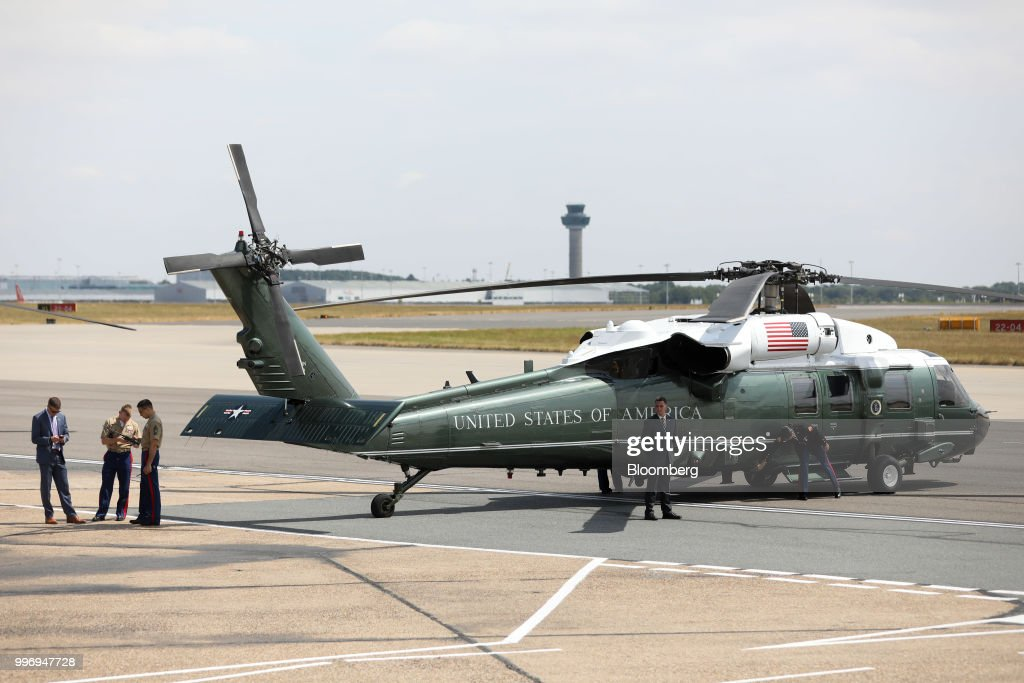 Marine One waits on the tarmac for the arrival of U.S. President Donald Trump at London Stansted Airport in Stansted, U.K., on Thursday, July 12, 2018. Trump will avoid London as much as possible as he's whisked off on a tour of prime British real estate to keep him away from protesters during his U.K. visit. Photographer: Chris Ratcliffe/Bloomberg via Getty Images