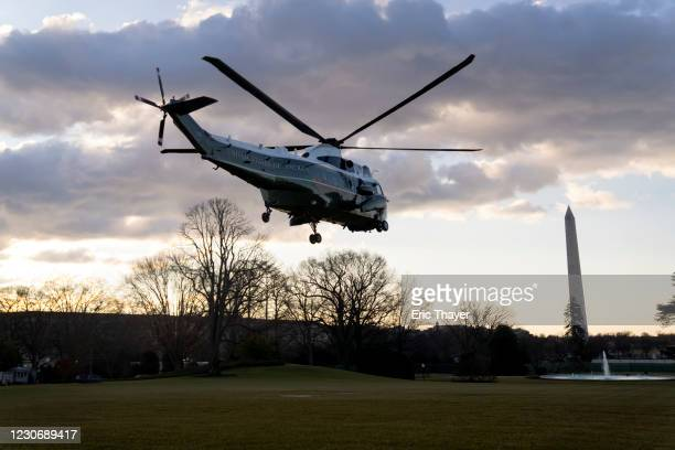 Marine One with President Donald Trump and first lady Melania Trump aboard departs the White House on January 20, 2021 in Washington, DC. Trump is...