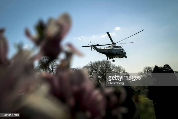 Marine One with US President Donald Trump on board departs from the South Lawn of the White House in Washington DC US on Thursday April 5 2018 Trump...