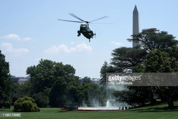 Marine One, with U.S. President Donald Trump on board, lands on the South Lawn of the White House July 30, 2019 in Washington, DC. Trump traveled to...