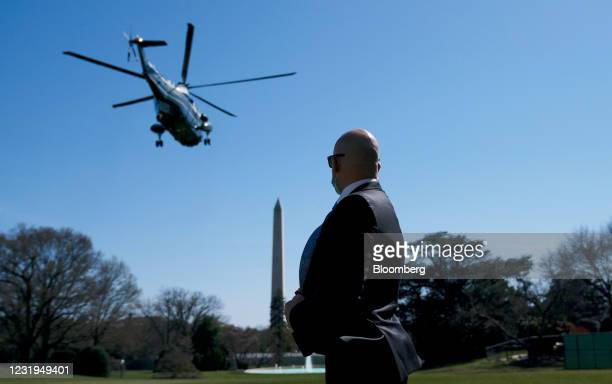 Marine One, with U.S. President Joe Biden aboard, departs from the South Lawn of the White House in Washington, D.C., U.S., on Friday, March 26,...