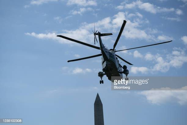 Marine One, with U.S. President Joe Biden aboard, departs from the South Lawn of the White House in Washington, D.C., U.S., on Tuesday, Sept. 7,...