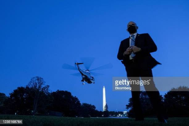 Marine One, with U.S. President Joe Biden aboard, departs from the South Lawn of the White House in Washington, D.C., U.S., on Friday, Sept. 10,...