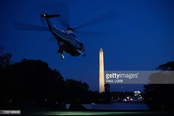 Marine One, with US President Joe Biden aboard, departs from the South Lawn of the White House in Washington, DC, September 10 as he travels to New...