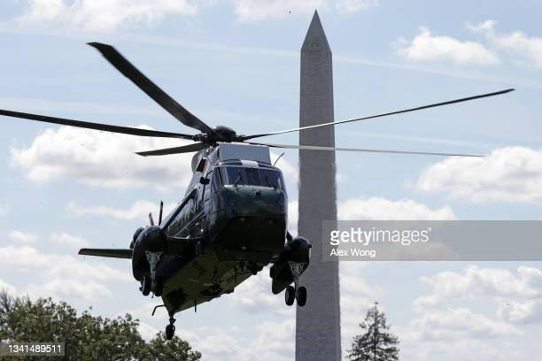 Marine One, with U.S. President Joe Biden aboard, lands on the South Lawn at the White House September 20, 2021 in Washington, DC. President Biden...