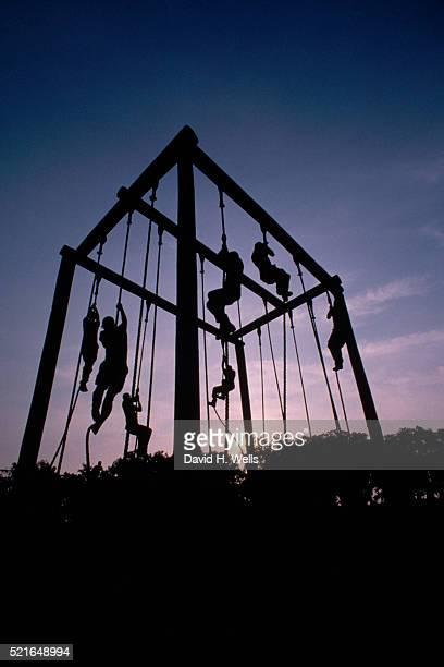 marine recruits climbing ropes - military training stock pictures, royalty-free photos & images
