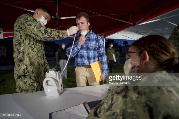 S Marine recruits receive coronavirus health screenings at the Marine Corps Recruit Depot on April 13 2020 in San Diego California New COVID19...