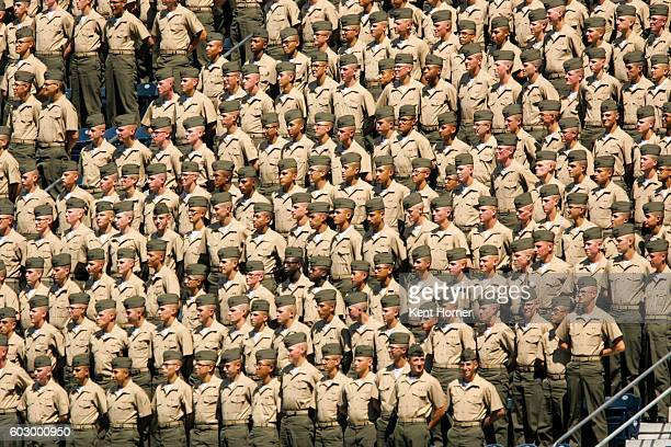 S Marine recruits stand together in the upper deck during military appreciation day during the game between the San Diego Padres and the Colorado...