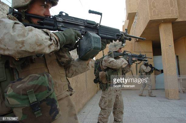 S Marine scouts attached to the Light Armored Reconnaissance company 'Raider platoon' search doortodoor for insurgents November 16 2004 in Fallujah...
