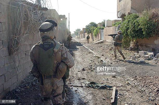 Marine scouts of the Light Armor Reconnaissance try to secure a street November 9 2004 in Fallujah Iraq On the authority of Iraqi President Ayed...