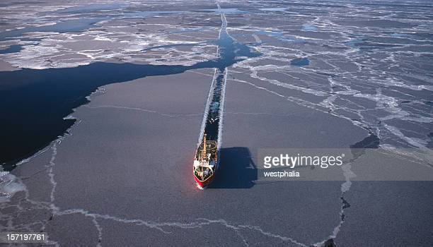 marine seismic in the arctic - ice floe stock pictures, royalty-free photos & images