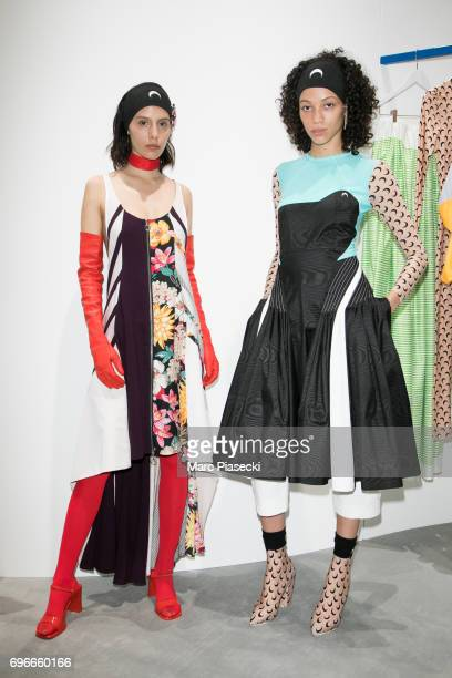 'Marine Serre' models pose during the 'Young Fashion Designer' LVMH prize 2017 at Fondation Louis Vuitton on June 16 2017 in Paris France