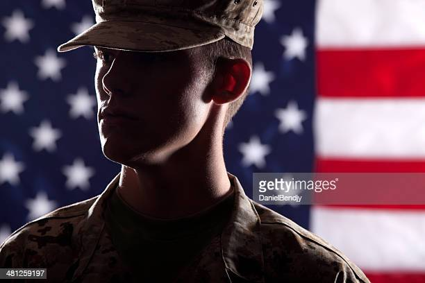 u s marine soldier - marine corps flag stock pictures, royalty-free photos & images