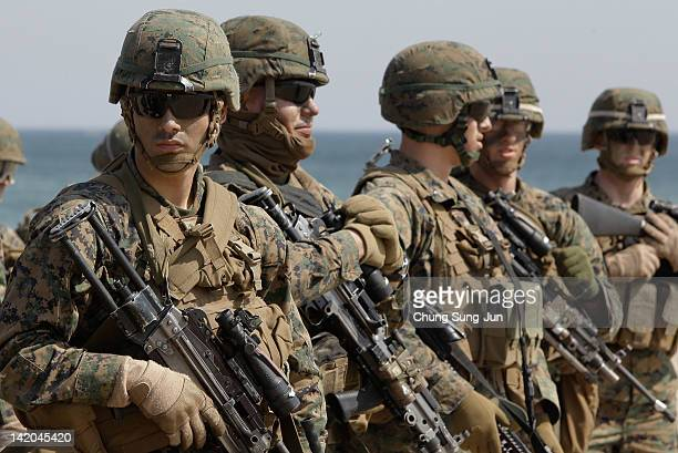 S Marine soldiers from 31st Marine Expeditionary Unit Battalion landing team deployed from Okinawa Japan participate in the US and South Korean...