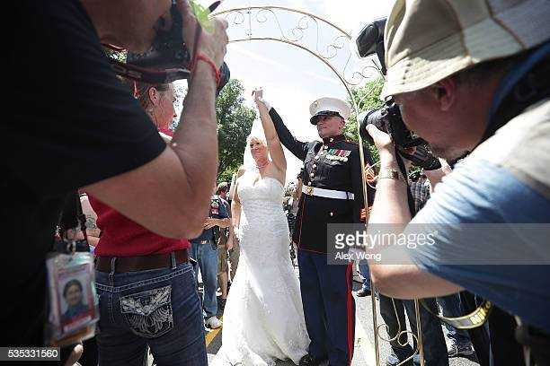 Marine Staff Sgt Tim Chambers 'the saluting Marine' gets married to Lorraine Heist prior to the annual Rolling Thunder First Amendment Demonstration...