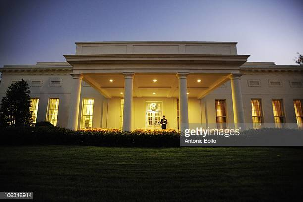 Marine stands guard in front of the White House's West Wing November 3 in Washington DC The West Wing houses the office of the Vice President and a...