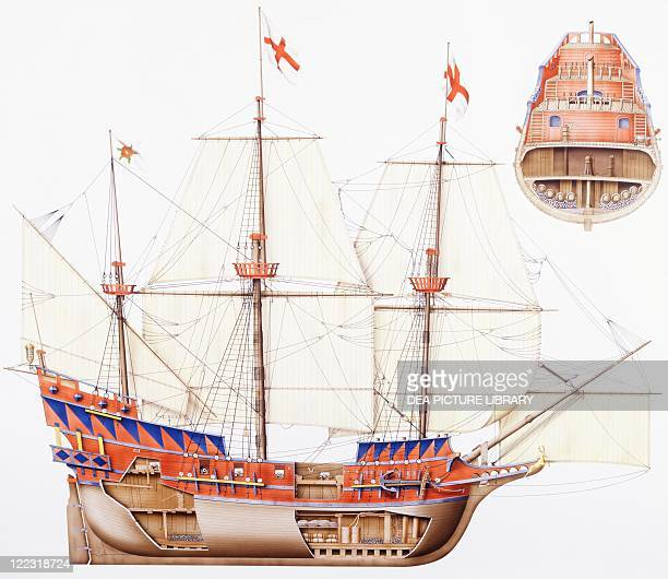 Marine transportation English galleon Sir Francis Drake's Golden Hind 17th century Color illustration