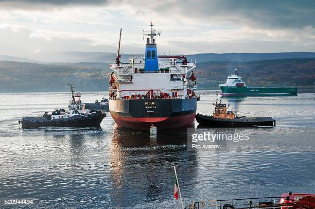 Marine tugs, bulk carrier, in the Kola Bay.