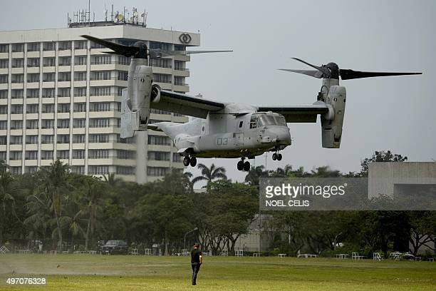 Marine V-22 Osprey tilt-rotor aircraft takes off near the site of the Asia-Pacific Economic Cooperation summit in Manila on November 14 days ahead of...