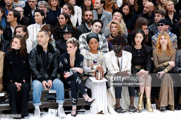 Marine Vacth a guest Kristen Stewart Janelle Monae a guest Liu Wen Clemence Poesy make a minute of silence in tribute to Karl Lagerfeld during the...
