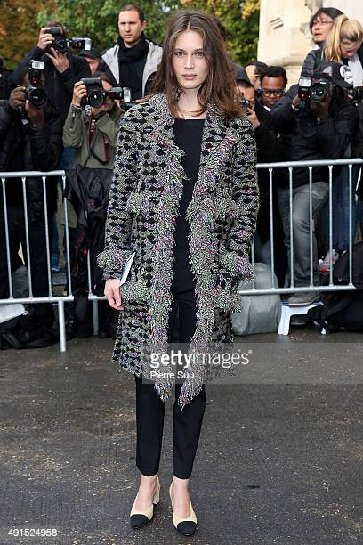 Marine Vatch arrives at the Chanel show as part of the Paris Fashion Week Womenswear Spring/Summer 2016 on October 6 2015 in Paris France