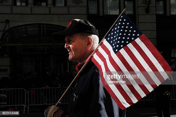 S marine veteran marches in the nation's largest Veterans Day Parade in New York City on November 11 2016 in New York City Known as 'America's...