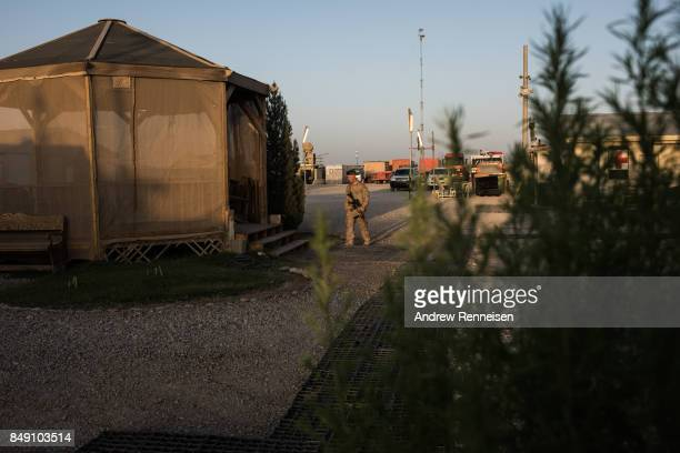 S marine walks outside a patio at Camp Shorab on September 11 2017 in Helmand Province Afghanistan About 300 United States Marines are currently...