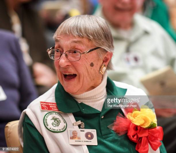 Marine Woman Reserve veteran Norma Rambo reacts during a ceremony honoring the 75th anniversary of Marine Women Reserves at the Armed Forces...