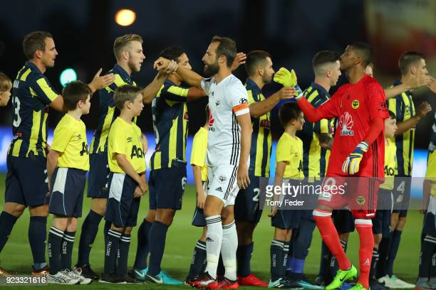 Mariners and Phoenix players before the start of the game during the round 21 ALeague match between the Central Coast Mariners and the Wellington...