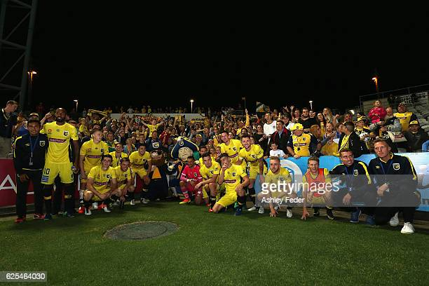 Mariners celebrate the win during the round eight ALeague match between the Central Coast Mariners and the Perth Glory at Central Coast Stadium on...