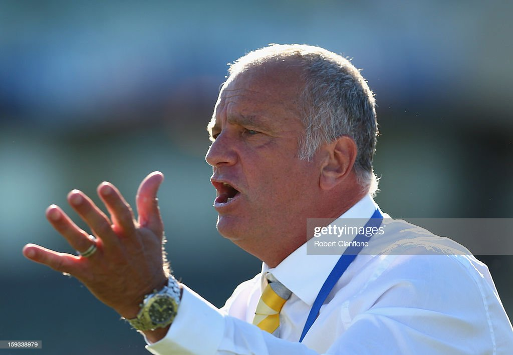 Mariners coach Graham Arnold gestures during the round 16 A-League match between the Melbourne Victory and the Central Coast Mariners at Aurora Stadium on January 12, 2013 in Launceston, Australia.