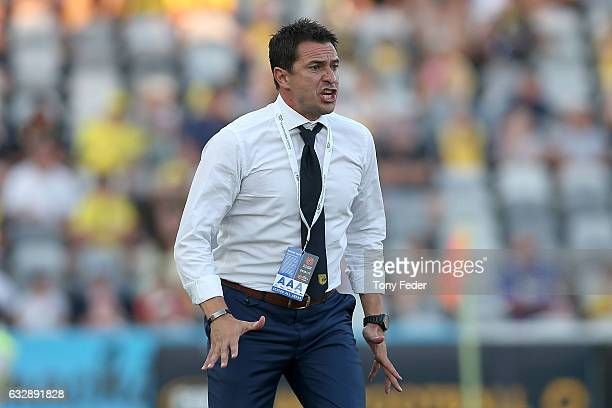 Mariners coach Paul Okon during the round 17 ALeague match between the Central Coast Mariners and the Perth Glory at Central Coast Stadium on January...