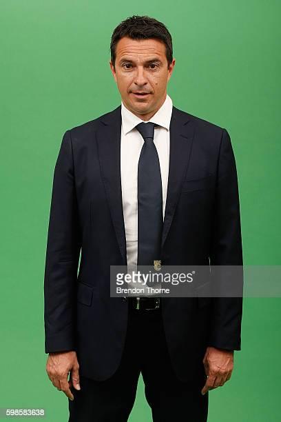 Mariners coach Paul Okon poses during the Central Coast Mariners ALeague headshots session at Fox Studios on September 2 2016 in Sydney Australia