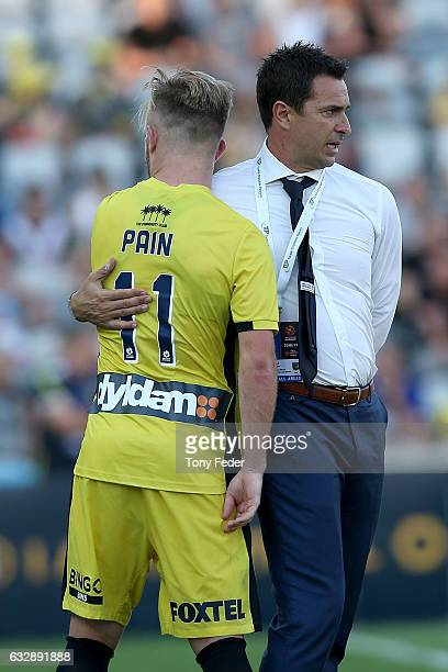 Mariners coach Paul Okon with Connor Pain during the round 17 ALeague match between the Central Coast Mariners and the Perth Glory at Central Coast...