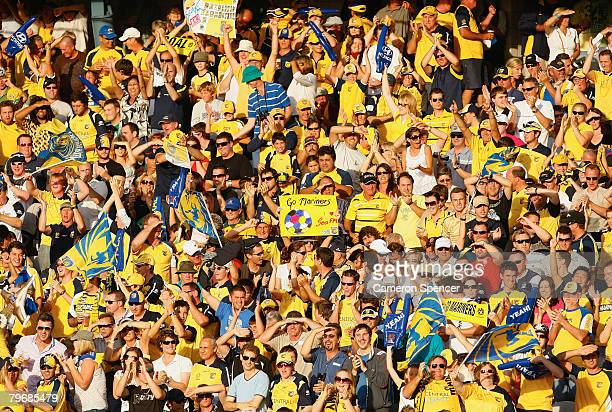 Mariners fans celebrates after Adam Kwasnik scored a goal during the ALeague Major Semi Final second leg match between the Central Coast Mariners and...